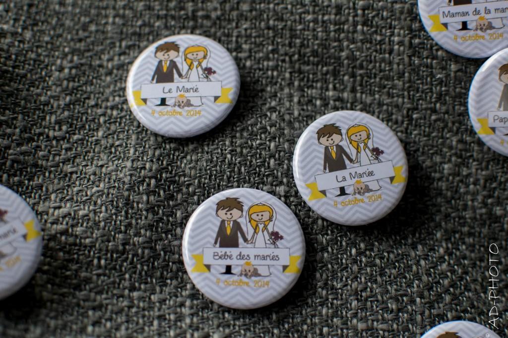 Badges personnalisés des mariés