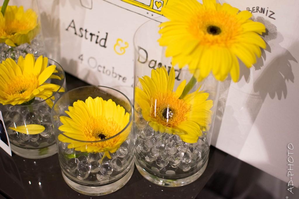 Gerbera et billes d'eau pour composition florale - Mariage