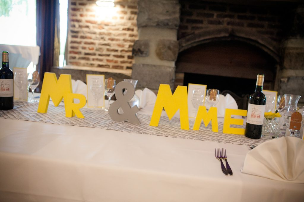 Décoration de table d'honneur « Mr & Mme »