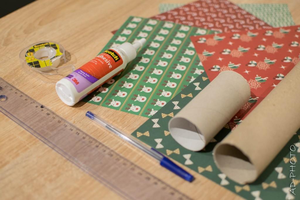 Matériel pour réaliser un calendrier de l'avent en rouleau de papier toilette