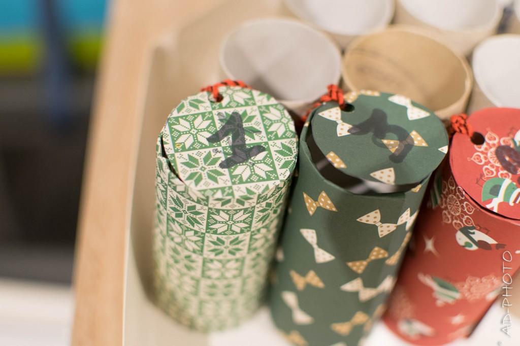 Rouleaux de papier toilette pour réaliser un calendrier de l'avent
