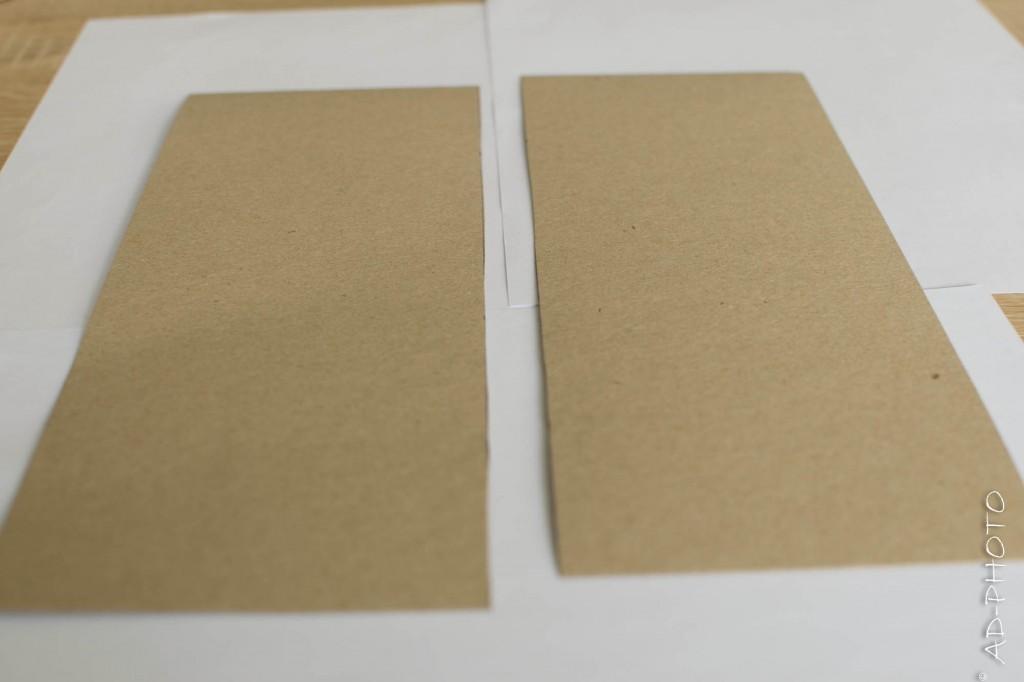 Feuille de papier kraft coupée en 2 pour réaliser un faire part