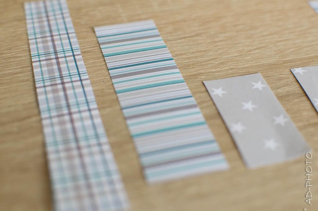Bandelette de papier pour faire part de naissance ou baptême