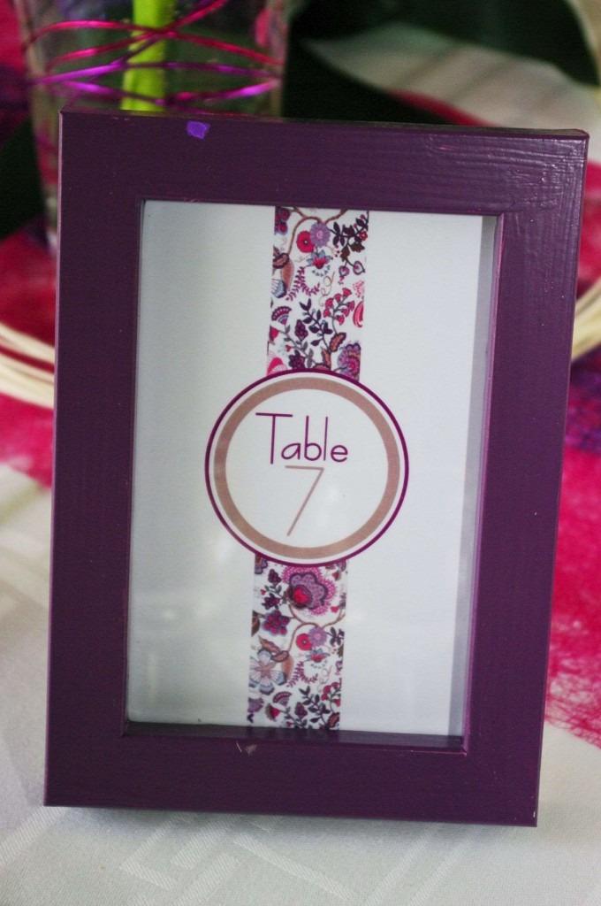 Cadre pour numéro de table de mariage