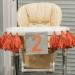 Décoration avec pompons pour chaise haute anniversaire 2 ans